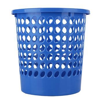得力垃圾桶,蓝色圆形塑料,9556