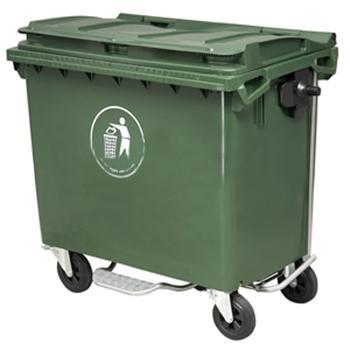 垃圾箱,四轮平盖移动垃圾箱,1100L,墨绿,仅限上海