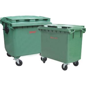 垃圾箱,四轮移动平盖塑料垃圾箱,660L,墨绿,仅限上海