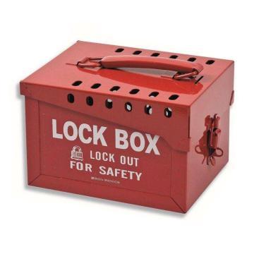 BRADY 便携式金属挂锁箱,红色,标准,可容纳40把挂锁,65699