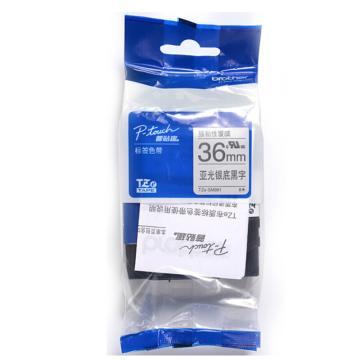 兄弟 标签色带, 亚光银底/黑字(强粘性) 36mmTZe-SM961 单位:卷