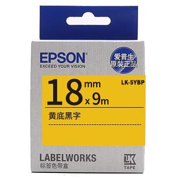 爱普生 标签色带,标签纸黄底黑字18mm LK-5YBP 单位:个