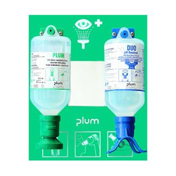 Plum洗眼液套装,含1瓶弱酸、弱碱、颗粒物、粉尘洗眼液,16盎司(500ml)+1瓶Plum PH Neutral 酸碱双眼冲淋洗眼液+双挂板,4695