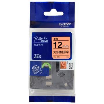 兄弟 色带,荧光橙底/黑字,12mm TZE-B31( 后期型号升级为TZE-ZB31,产品不变) 单位:卷