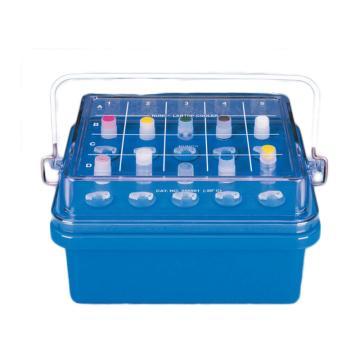 NALGENE0℃实验专用冷却盒和试管冷却盒,绿色聚碳酸酯较低的部分填充无毒的胶体;聚碳酸酯盖,已填充胶体为白色,带手柄