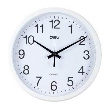 得力(deli) 圆形挂钟钟表 客厅挂式静音钟表, 9005 30cm简约时尚挂钟 白 单位:只
