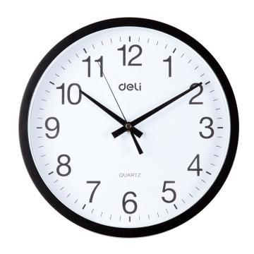 得力(deli) 圆形挂钟钟表,客厅挂式静音钟表 9005 30cm简约时尚挂钟 黑 单位:只