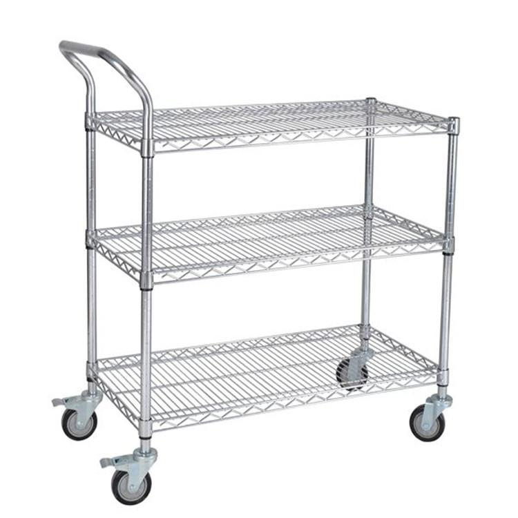 三威 不锈钢网层手推车,单扶手 承重250kg,不锈钢网层手推车 907*457*1000mm三层