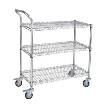 三威 碳钢镀铬网层手推车,单扶手,承重250kg,三层,907*457*1000mm
