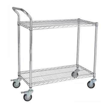 三威 碳钢镀铬网层手推车,单扶手,承重250kg,两层,1211*457*1000mm