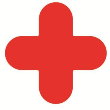 安赛瑞 5S管理地贴-十型,红色,150×150mm,15786,10个/包