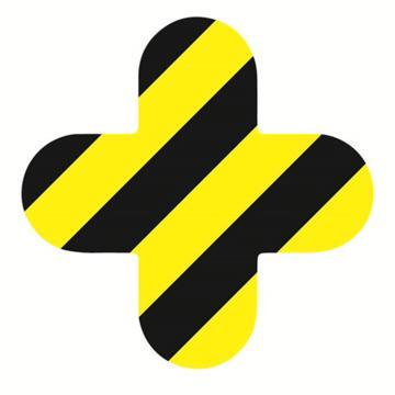 安赛瑞 5S管理地贴-十型,黄/黑,150×150mm,15804,10个/包