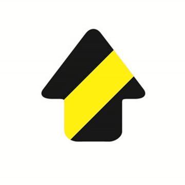 安赛瑞 5S管理地贴-箭头,黄/黑,76×70mm,15802,10个/包