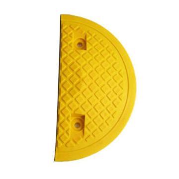 重载橡胶减速带端头(10吨)-优质原生橡胶,含安装配件,黄色,250×350×50mm,14461