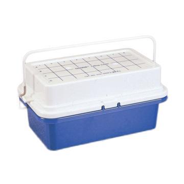 -20℃实验专用冷却盒,蓝色聚碳酸酯较低部分填充无毒胶体,聚碳酸酯盖,4*8管阵列