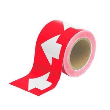 安赛瑞 管道流向箭头带-红,高性能自粘性材料,100mm宽×27m长,33508