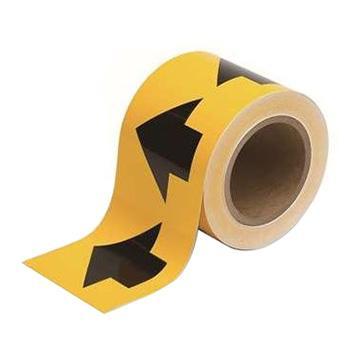 安赛瑞 管道流向箭头带-黄,高性能自粘性材料,100mm宽×27m长,33502