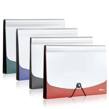 得力(deli)飞盘扣式双色风琴包/资料包/文件包, A4/12格 5558红 单位:只