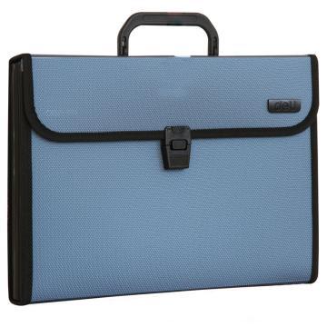 得力 (deli)手提式风琴包/资料包/文件包,A4/12格 5555蓝色 单位:个(售完为止)