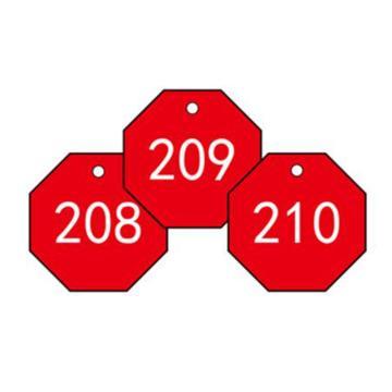 安赛瑞 塑料号码吊牌-八边形,Ф31.8mm,红底白字,号码201-300,14867,100个/包