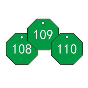 安赛瑞 塑料号码吊牌-八边形,Ф31.8mm,绿底白字,号码101-200,14869,100个/包