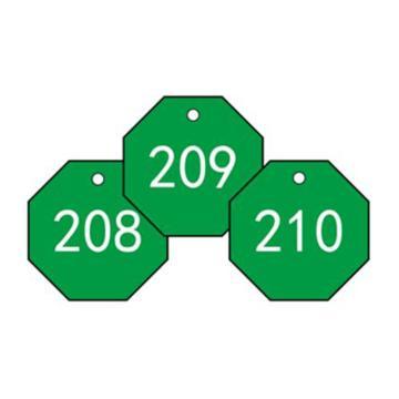 安赛瑞 塑料号码吊牌-八边形,Ф31.8mm,绿底白字,号码201-300,14870,100个/包