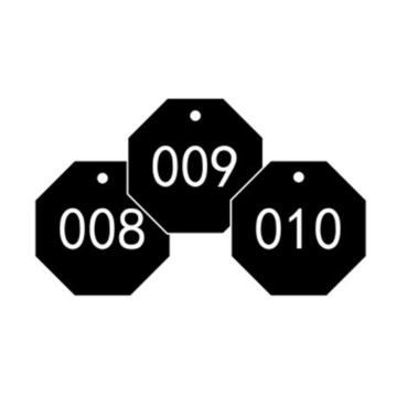 安赛瑞 塑料号码吊牌-八边形,Ф31.8mm,黑底白字,号码001-100,14871,100个/包