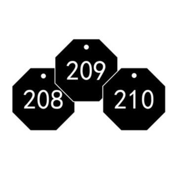 安赛瑞 塑料号码吊牌-八边形,Ф31.8mm,黑底白字,号码201-300,14873,100个/包