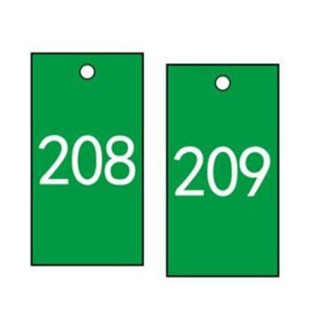 安赛瑞 塑料号码吊牌-长方形,25.4×76.2mm,绿底白字,号码201-300,14882,100个/包
