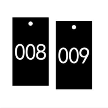 安赛瑞 塑料号码吊牌-长方形,25.4×76.2mm,黑底白字,号码001-100,14883,100个/包