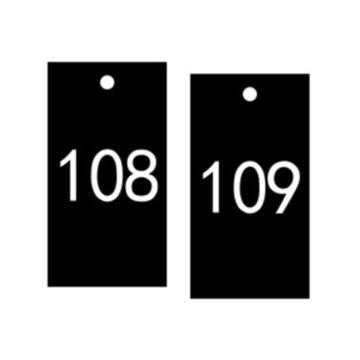 安赛瑞 塑料号码吊牌-长方形,25.4×76.2mm,黑底白字,号码101-200,14884,100个/包