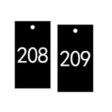安赛瑞 塑料号码吊牌-长方形,25.4×76.2mm,黑底白字,号码201-300,14885,100个/包