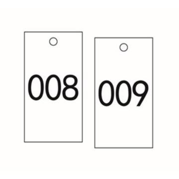安赛瑞 塑料号码吊牌-长方形,25.4×76.2mm,白底黑字,号码001-100,14886,100个/包