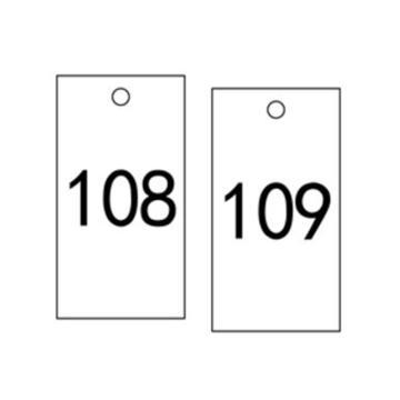 安赛瑞 塑料号码吊牌-长方形,25.4×76.2mm,白底黑字,号码101-200,14887,100个/包