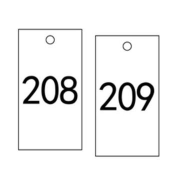 安赛瑞 塑料号码吊牌-长方形,25.4×76.2mm,白底黑字,号码201-300,14888,100个/包