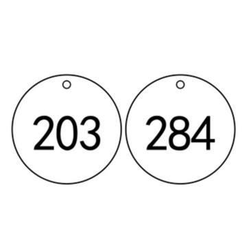 安赛瑞 塑料号码吊牌-圆形,Ф31.8mm,白底黑字,号码201-300,14852,100个/包