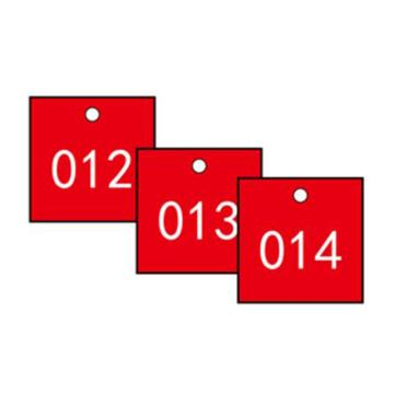 安赛瑞 塑料号码吊牌-正方形,31.8×31.8mm,红底白字,号码001-100,14853,100个/包