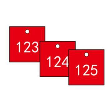 安赛瑞 塑料号码吊牌-正方形,31.8×31.8mm,红底白字,号码101-200,14854,100个/包