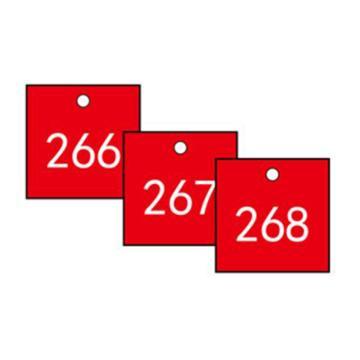 安赛瑞 塑料号码吊牌-正方形,31.8×31.8mm,红底白字,号码201-300,14855,100个/包