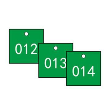 安赛瑞 塑料号码吊牌-正方形,31.8×31.8mm,绿底白字,号码001-100,14856,100个/包