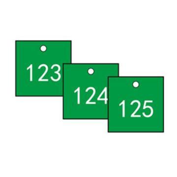 安赛瑞 塑料号码吊牌-正方形,31.8×31.8mm,绿底白字,号码101-200,14857,100个/包