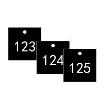 安赛瑞 塑料号码吊牌-正方形,31.8×31.8mm,黑底白字,号码101-200,14860,100个/包