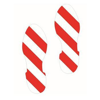 安赛瑞 5S管理地贴-脚印,红/白,280×100mm,14426,1对/包