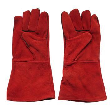 焊接手套,PKST-026,加长加厚牛皮电焊手套 红色
