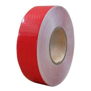 安赛瑞 超级晶格反光警示胶带,超级晶格反光材料,50mm×50m,红色,14354