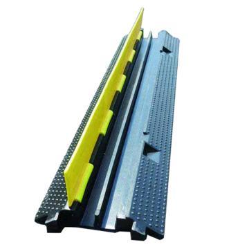 安赛瑞 重型2槽线缆保护带-高强度塑胶,抗压12吨,黄/黑,线槽宽30mm,1000×250×45mm,14465