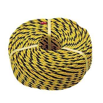 安赛瑞 警示隔离绳,高强度尼龙材质,黄黑条纹,Ф10mm×50m,14106