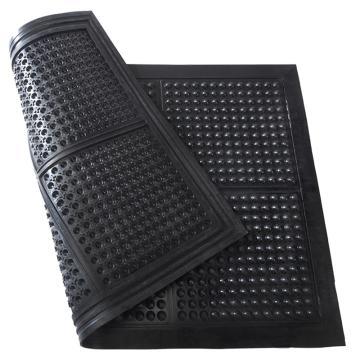 """丽施美 特泰""""橡胶抗疲劳垫,(圆球纹) 0.6*0.9m,黑色 13mm厚,单位:块"""