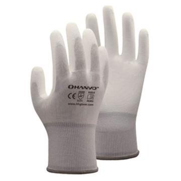 恒辉 PU涂层手套,PE303-8,13针白涤纶掌浸