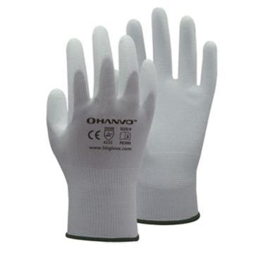 恒辉 PU涂层手套,PE300-8,13针白尼龙掌浸
